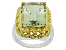 Prasiolite Ring-Emerald Cut 7.8ct, 14x12mm-Stunning Sz6