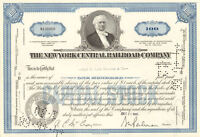 The New York Central Railroad Company > blue 100 share stock certificate