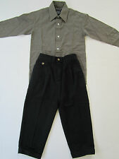 Boy's 2pc Outfit [ 4/5 ] Olive Dress Shirt Black Pants Childs Formal Church Suit
