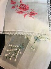 Estate Woman Handkerchief Hanky Embroidered Set Of 2 Pc Switzerland*