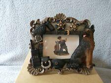 "German shepherd police dog & partner well-detailed photo frame 5""x 5""x 2"""