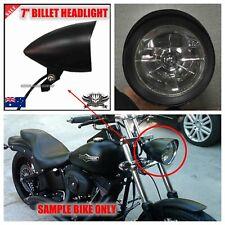 Black billet bullet headlight Harley custom chopper softail sportster bobber XL