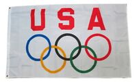 USA America Olympic Games 3x5 Feet Flag Olympic Rings International Banner Flag