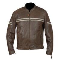 New Men's Genuine Cowhide Biker Cafe Racer Motorcycle Brown Leather Jacket