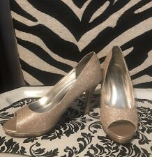 a8f899388e26 David s Bridal Champagne Gold Sparkle Peep Toe Pumps Rochelle High Heels 6.5