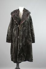 Vtg Women's Edwardian Era Black Velvet Swing Coat w/ Fur Collar Sz XL #1252