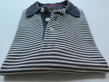Orvis Short Sleeve 100% Cotton Blue White Striped Pullover Polo Shirt Medium