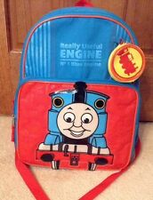 VGC! Thomas The Tank Engine Blue/Red 2 Section Backpack W/Water Bottle Holder