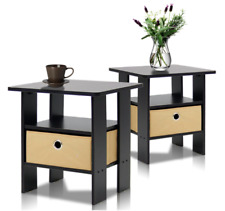 Wood End Table Bedroom Wooden Modern Night Stand Living Room Set of 2 Tables New