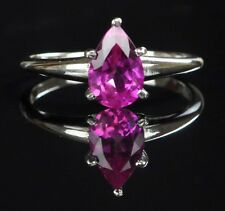 14KT White Gold Pear Shape 1.40Ct Natural Pink Tourmaline Anniversary Ring