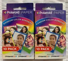 "Polaroid 2x3"" Premium Zink Paper Random Rainbow Borders 20 Pack - New, Sealed"