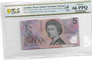 Australia/Reserve Bank of Australia Pick#57f 2008 5 Dollars PCGS 66 PPQ