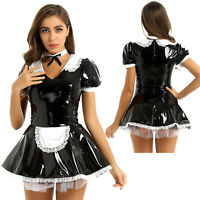 French Maid Fancy Dress Costume Ladies Patent Leather Role Play Outfit Hen Party