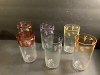"VTG Borgonovo Italy Set Of 6 Highball Different Colors Glasses W/ Grapes 5.5"" H"