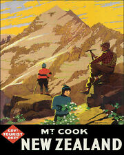 MOUNT COOK NEW ZEALAND MOUNTAIN HIKERS 8 X 10 VINTAGE POSTER REPRO FREE SHIPPING