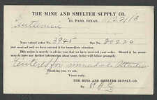 1913 PC EL PASO TX THE MINE & SMELTER SUPPLY CO ORDER ACKNOWLEDGEMENT