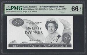 New Zealand 20 Dollars 1981 UNC (pick. 173app1) Black Proof PMG-66 EPQ
