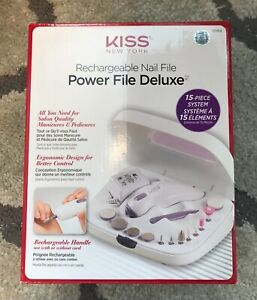 NEW KISS RECHARGEABLE POWER MANICURE FILE DELUXE NAIL FILE - OPEN BOX-