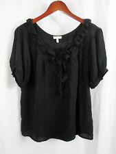 Joie Womens Silk Shirt Top Sz M Medium Black Blouse