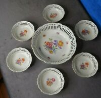 BJL Germany Reticulated Master Fruit Bowl & Six Reticulated Fruit Bowls Numbered