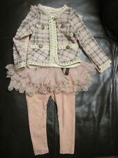 Korean kawaii Baby Girl Tutu Leggings Tweed Jacket & Top Set Suit 12-24 months