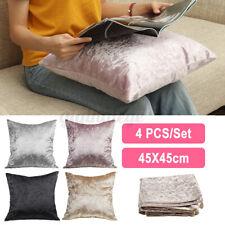 "UK 4 Pack Plain Cushion Covers Set 18x18"" Plain Luxury Velvet Cushion Cover 45CM"