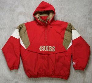 Vintage 90's Starter Mens San Francisco 49ers Pull Over Jacket Hooded Sz Large