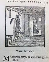 Le Chat et la Souris 1682 Rare Gravure sur Bois Fables d'Esope