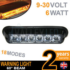 6 LED Faro Luz Estroboscópica de recuperación de módulo de color ámbar de advertencia 12v o 24v peligro ambiente van