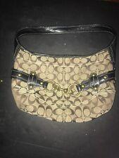 COACH Canvas Handbag TOTE Purse SIGNATURE Tan/Brown
