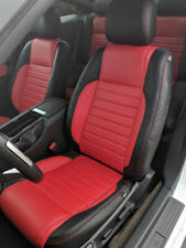 KATZKIN BLK & RED REPLA LEATHER INT CVRS FITS 2013 2014 FORD MUSTANG COUPE V6 GT