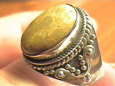 FOSSIL  YELLOW AGATE  STERLING SILVER 925  RING 9 RARE NATURAL ELEGANT COMPLEX O