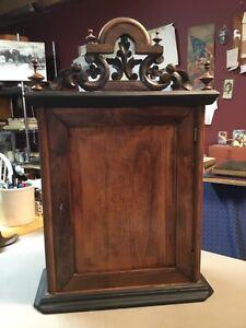 Antique Wooden Locking Cabinet, 4 Shelves & 3 Drawers, Possibly Medicine Cabinet