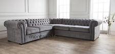Bespoke Burley Button Back Chesterfield Large Grey Fabric Corner Sofa RRP £2999