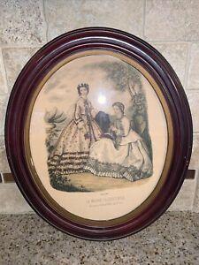 Vintage LA MODE ILLUSTREE Oval Frame French Victorian Paris Ladies 14 x 12 #0711