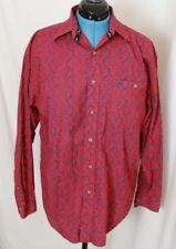 05a7136af44e3 Wrangler George Strait western Red Blue Paisley Button-Down Casual Shirt  Men s M