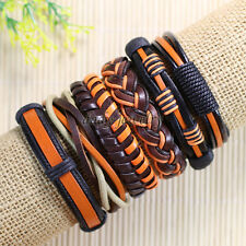 6pcs Wholesale Handmade Vintage Braided Genuine Leather Bracelet Wristband-D90