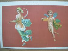 Antico Vittoriano 1880 STAMPA Pompei-Affresco dipinti dalle rovine