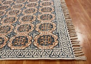 5x5 8x8 Indian Hand Block Printed Area Rug Cotton Dhurrie New Office/Home Carpet