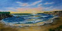 "Art12""/24"" sunset on Bonny Doon beach California oil painting,surf, seascape"