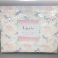 Nicole Miller Unicorn TWIN FULL Sheet Set Pink Purple Sea Green Turquoise NEW