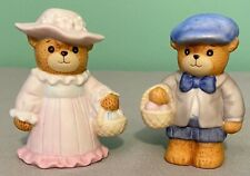 Vintage Lucy & Me Bear-Enesco-1986 - Easter Girl & Boy With Basket of Eggs-Pair