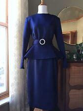 Victor Costa Dress Royal Navy Blue Satin Evening Formal Gown Peplum Vintage 80s