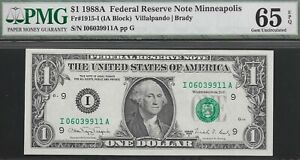 FR 1915-I 1988-A  $1 MINNEAPOLIS FED  PMG 65 EPQ  L@@K  NR