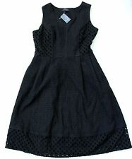 Lands' End Sleeveless Embroidered Eyelet A-Line Dress Size 6 Black NWT $139