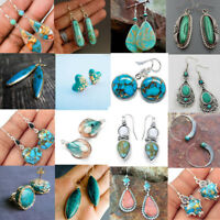 Boho 925 Silver Turquoise Dangle Hoop Earrings Women Lady Vintage Party Jewelry