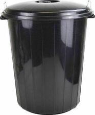 50L Black Plastic Bin Indoor Outdoor Garden Kitchen Recycling Rubbish Dustbin