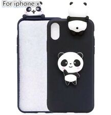 For Apple iPhone X - SOFT SILICONE RUBBER SKIN CASE COVER 3D BLACK WHITE PANDA