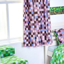 "Brown Pixels Curtains 66"" x 54"" Childrens Bedroom Curtains Tape Top Pencil Pleat"