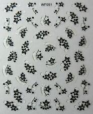 Accessoire ongles : nail art - Stickers autocollants, motifs feuilles noires